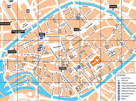 Map of Strasbourg: downtown area, tram and bus |SCB